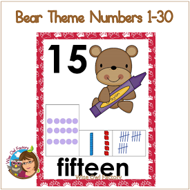 Bear Theme Number Posters 1-30