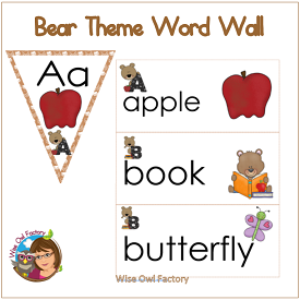 Bear Theme Word Wall