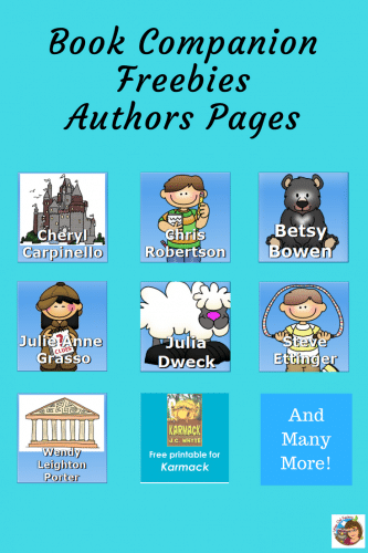 Book Companions for Specific Children's Authors -- This page has links to free printables to accompany books by selected authors