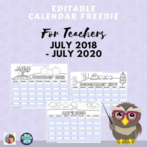 Editable Calendars for-teachers-July-2018-through-July-2020-freebie