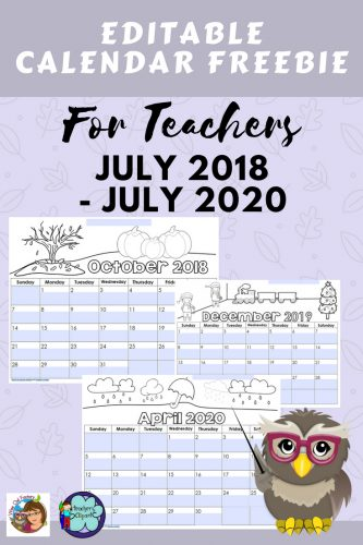 Editable Teacher Calendars 2018 thru July 2020 Free Download -- these calendars are brought to you again by Teachers Clipart and this blog. Calendars are provided for both Northern and Southern Hemispheres on separate PDFs.