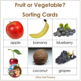 Fruit and Vegetable Sorting Cards