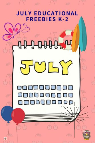 July Educational Resources Free Printables including math such as names for numbers and skip counting, science, bookmarks, journal pages