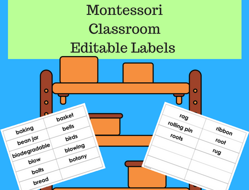 Montessori Classroom Editable Labels Freebie