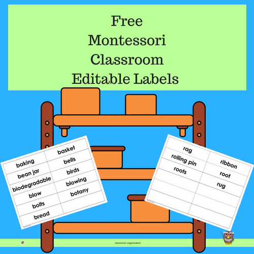 photo regarding Printable Classroom Labels titled Montessori Clroom Editable Labels Freebie Clever Owl Manufacturing unit