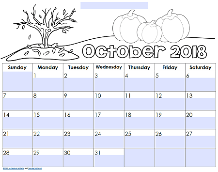 Editable Calendars October-2018-editable-teacher-calendar-sample-page