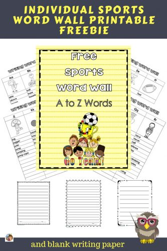 Sports Individual Word Wall for Students Free -- this blog post has a sports-themed word wall with blank writing paper in three sizes
