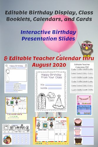 Editable Birthday Display, Slides, and Classroom Calendars --editable birthday display, birthday awards, class booklets, and slides.