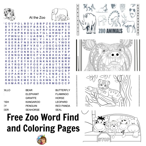 zoo coloring pages word find