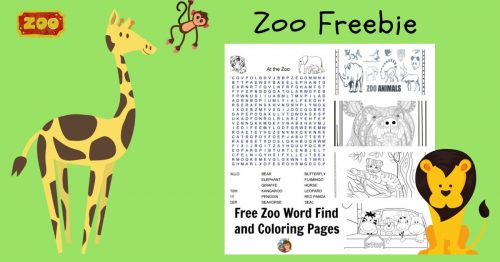 Zoo Word Search And Coloring Pages Freebie • Wise Owl Factory