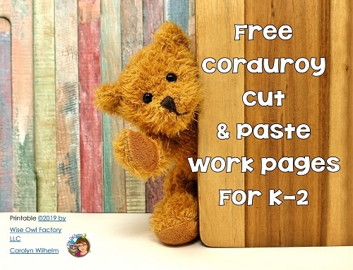 Corduroy Bear Cut and Paste Work Page Freebie