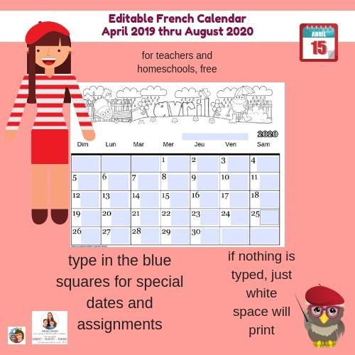 editable-French-class-calendar-free-April-2019-Aug-2020-teachers-home-school