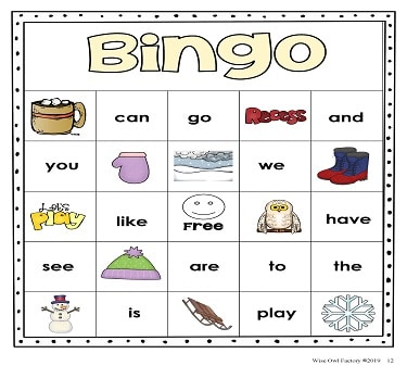 First High-Frequency Words Winter Theme Bingo Game