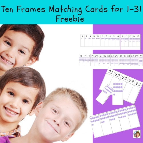 Ten Frames Matching Cards 1-31 Instant Download