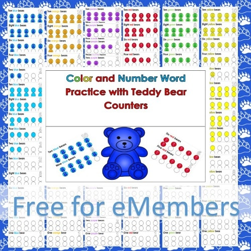 Color and Number Word Practice with Color Bears