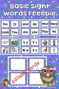 Kindergarten Sight Word Wall and Swat Game Cards freebie