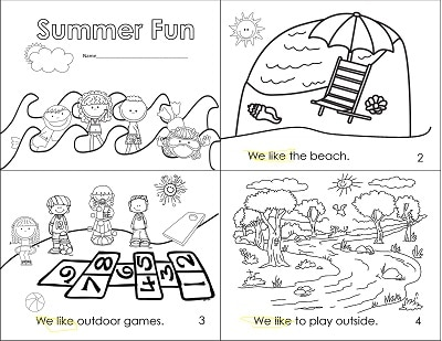 Summer Fun Emergent Reader Little Book Freebie