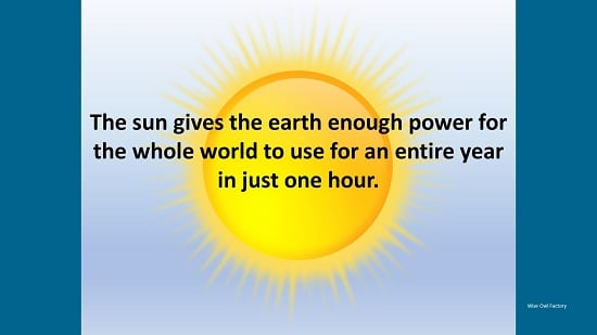 the sun provides all the energy the earth needs for a year every hour