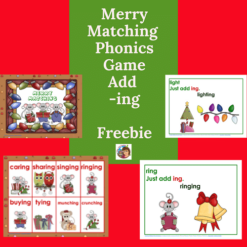 Merry Matching Drop e, Add -ing Christmas Theme Game