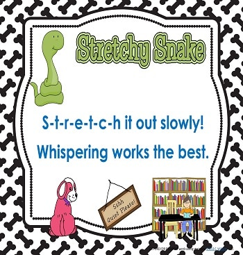 Stretchy Snake encourages children to slowly whisper the sounds in a word to blend them together.