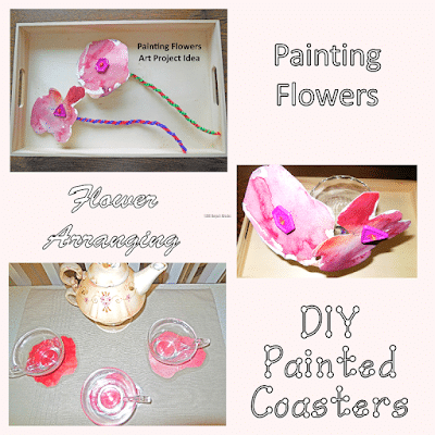 Painting-arranging-flowers-and-DIY-Coasters