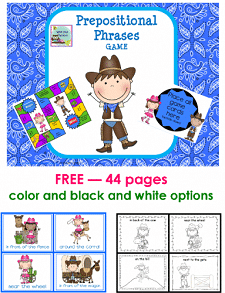 free prepositional phrases and game with the option to print in color or black and white, free printable