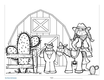 coloring page western theme