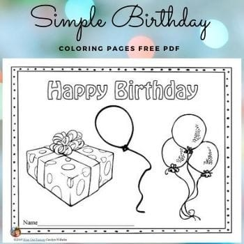 Simple Birthday Coloring Pages for Ages 3-7