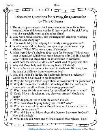 Discussion questions for A Pony for Quarantine by Clare O'Beara