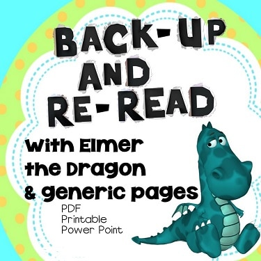 Back-up and Re-read Letter-sized teaching posters and student work pages PDF and PowerPoint