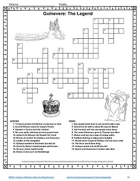 Guinevere crossword puzzle for book three.