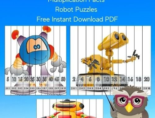 Skip Counting and Multiplication Facts Robot Puzzles