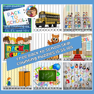 Back to School -skip-count puzzles