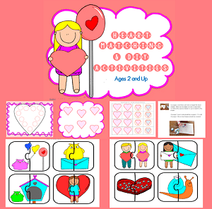 hearts and Valentine's matching activities printable