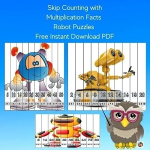 skip-count-multi-facts-math-robot-puzzles-freebie