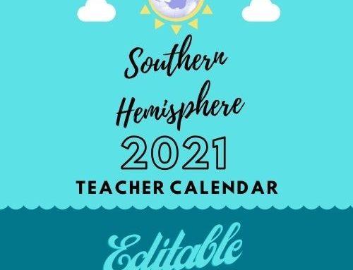 2021 Southern Hemisphere Editable Teacher Calendar