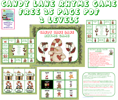 photo of pages in the free candy lane rhyming game