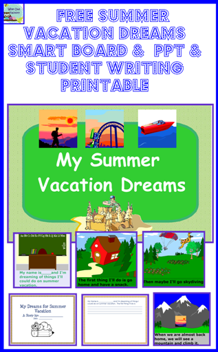 free summer vacation dreaming writing frame and slide presentation